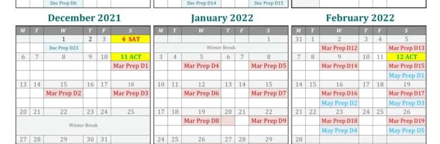 2021 Fall - 2022 Spring Camp Calendar